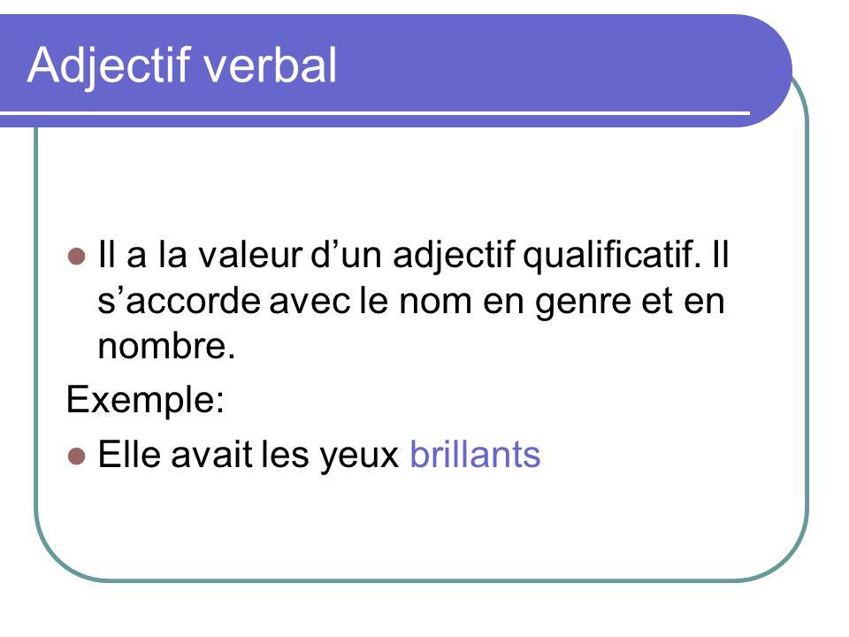 Adjectif verbal Il a la valeur d'un adjectif qualificatif.