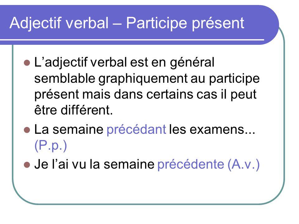 Adjectif verbal – Participe présent L'adjectif verbal est en général semblable graphiquement au participe présent mais dans certains cas il peut être différent.