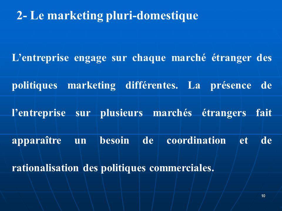 2- Le marketing pluri-domestique L'entreprise engage sur chaque marché étranger des politiques marketing différentes. La présence de l'entreprise sur