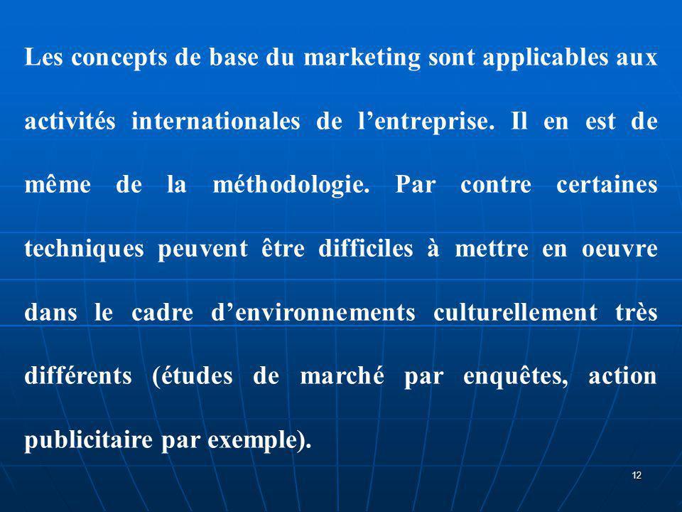 Les concepts de base du marketing sont applicables aux activités internationales de l'entreprise. Il en est de même de la méthodologie. Par contre cer