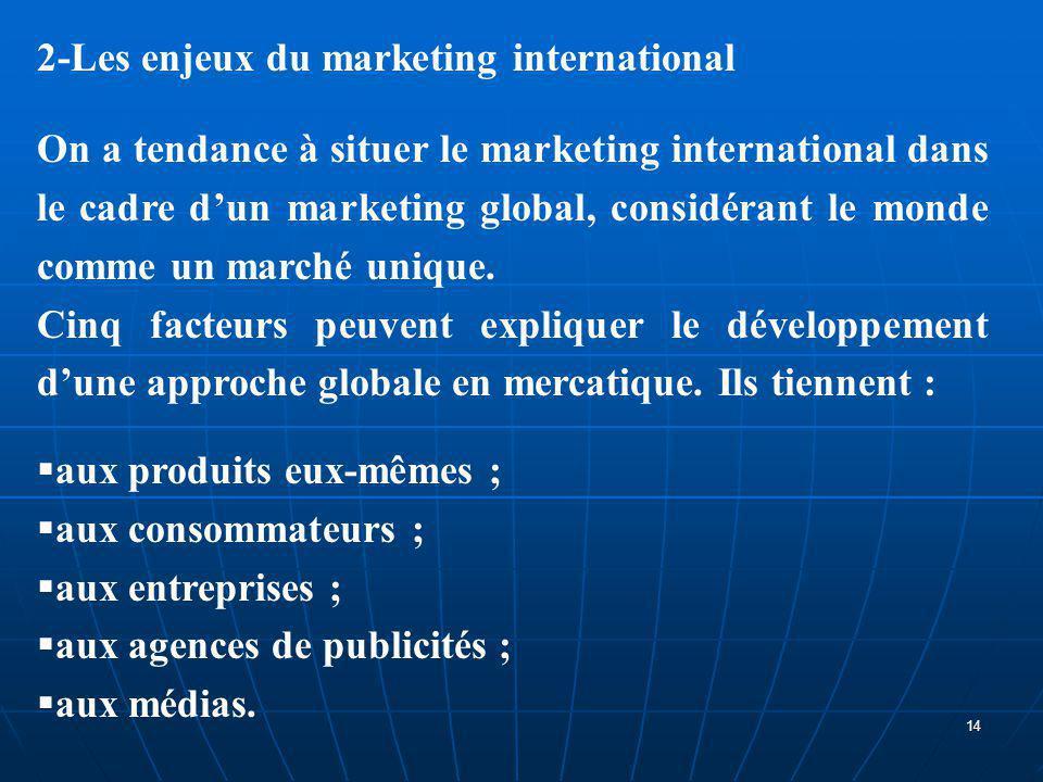 2-Les enjeux du marketing international On a tendance à situer le marketing international dans le cadre d'un marketing global, considérant le monde co