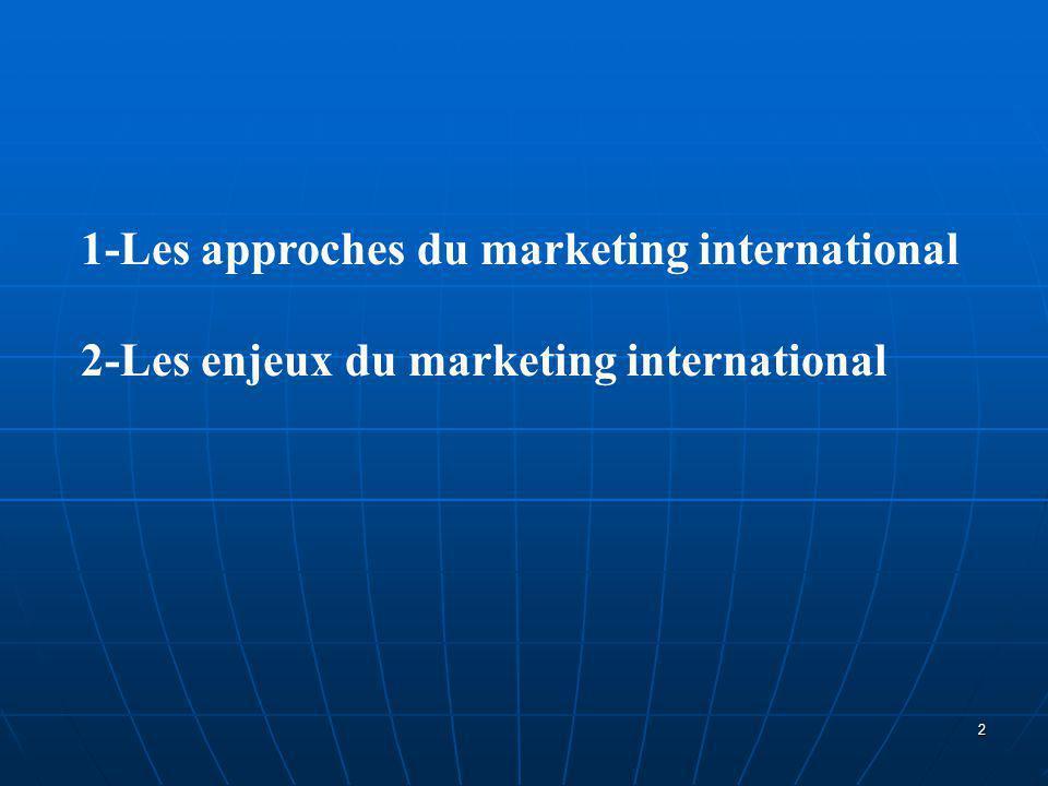 Souvent, en relation avec la façon dont l'entreprise appréhende son environnement et son développement international, on a recours à trois approches du concept de marketing international.