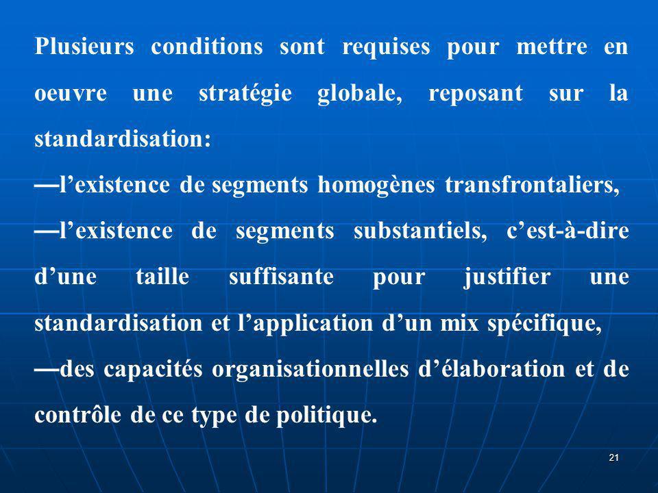 Plusieurs conditions sont requises pour mettre en oeuvre une stratégie globale, reposant sur la standardisation: — l'existence de segments homogènes t
