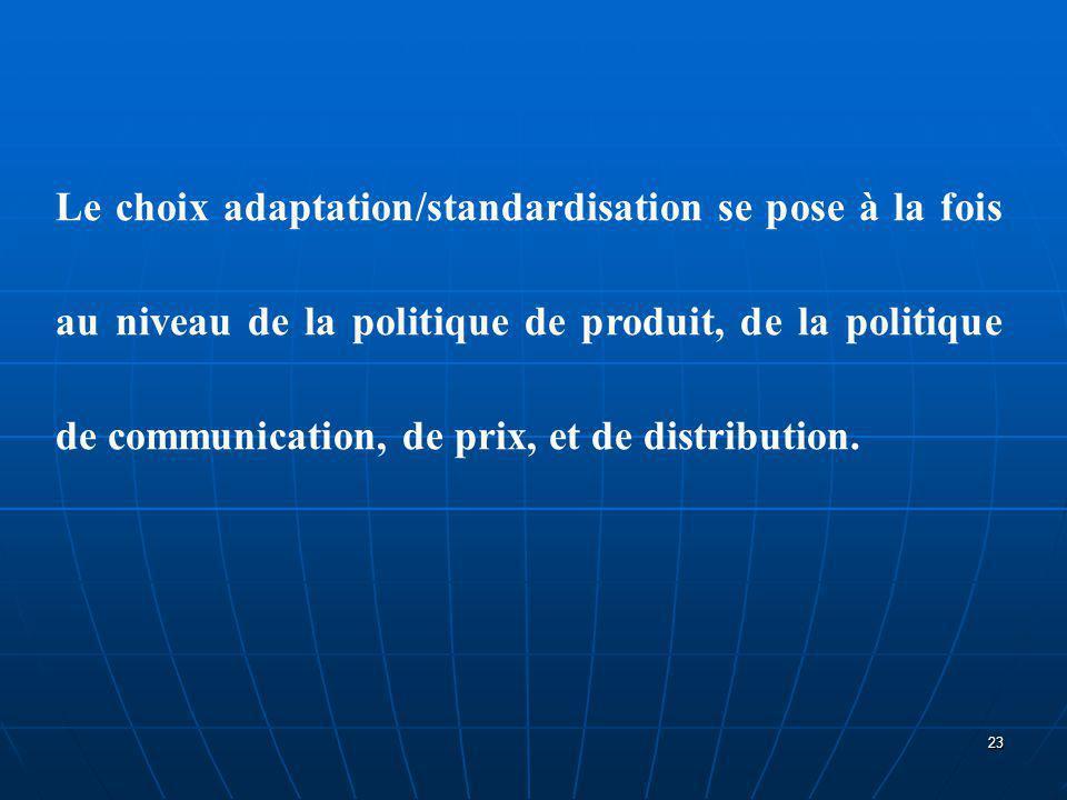 Le choix adaptation/standardisation se pose à la fois au niveau de la politique de produit, de la politique de communication, de prix, et de distribut