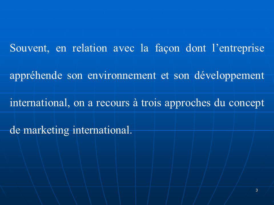 1.Le marketing de l'exportation 2.Le marketing pluri-domestique 3.Le marketing international global 4