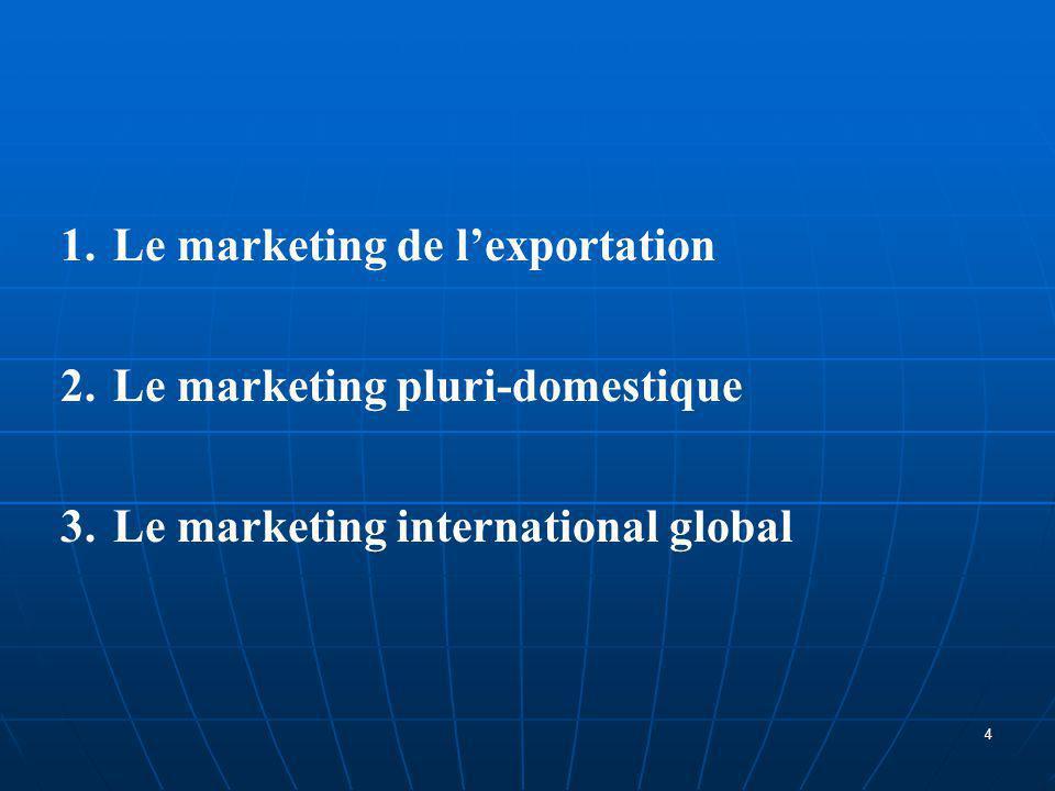 1.Le marketing de l'exportation Cette approche est adaptée aux entreprises qui souhaitent prolonger à l'étranger une politique commerciale fructueuse sur le marché nationale.