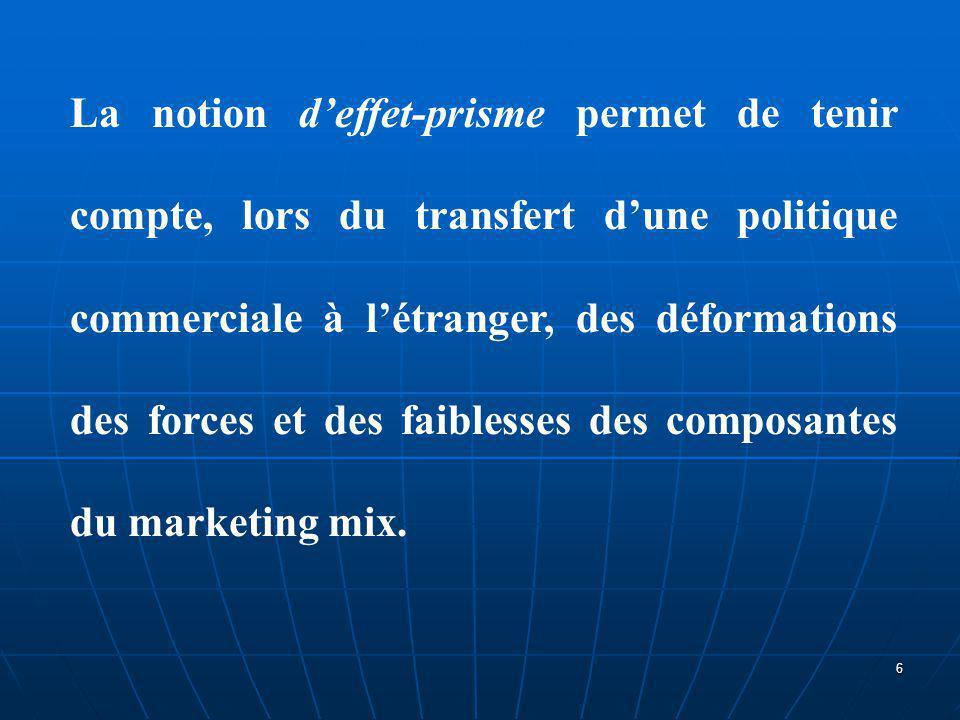 L'existence d'un environnement différent (par exemple, comportement du consommateur, concurrence locale, structure de l'appareil de distribution...) et le franchissement des frontières (droits de douane, parités de change variables...) modifient l'efficacité ou la pertinence du marketing mix.