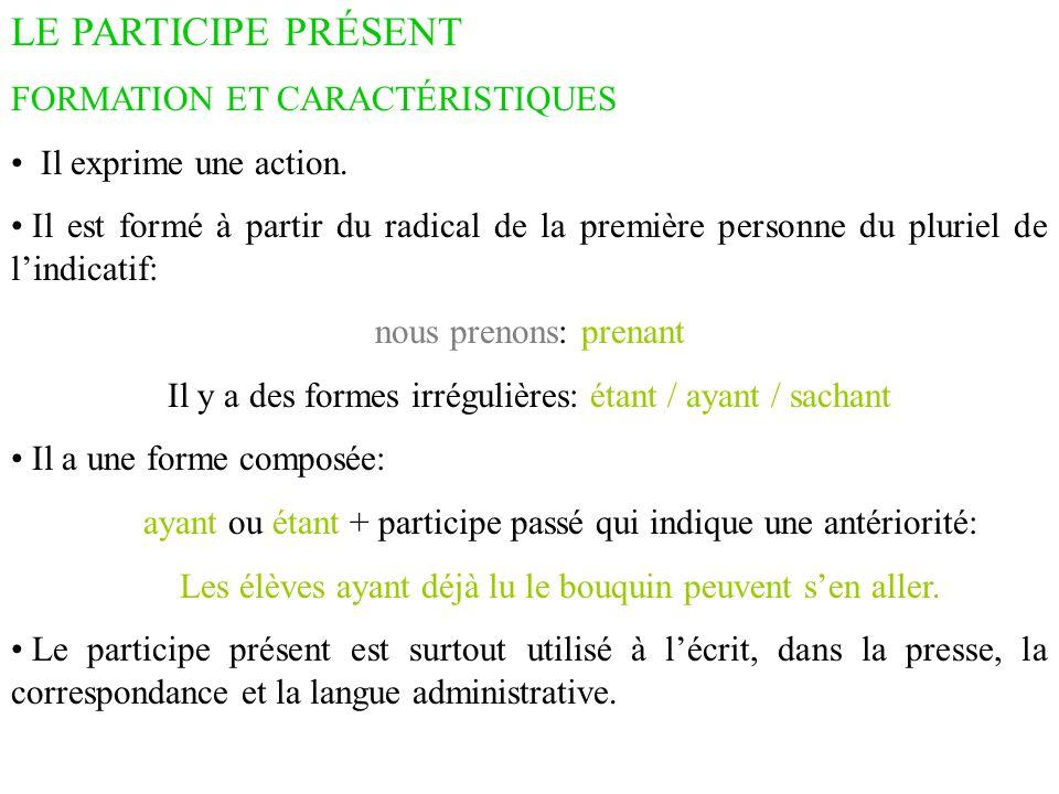 LE PARTICIPE PRÉSENT EMPLOIS Il peut remplacer une relative avec qui : C'est un élève qui a de la facilité pour les langues.