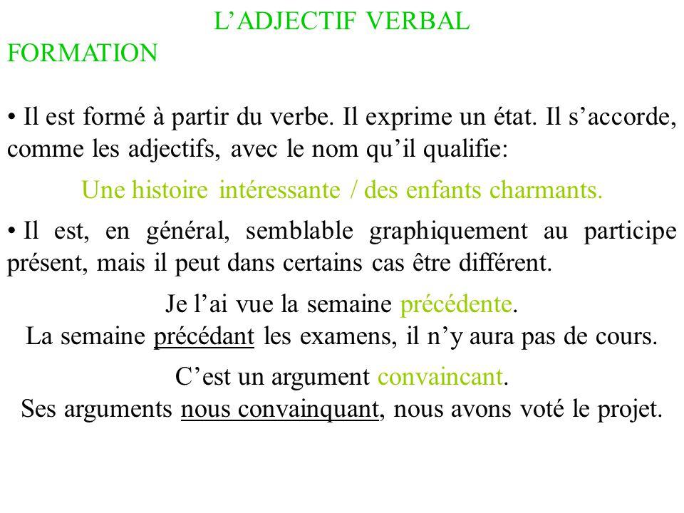 L'ADJECTIF VERBAL FORMATION Il est formé à partir du verbe. Il exprime un état. Il s'accorde, comme les adjectifs, avec le nom qu'il qualifie: Une his