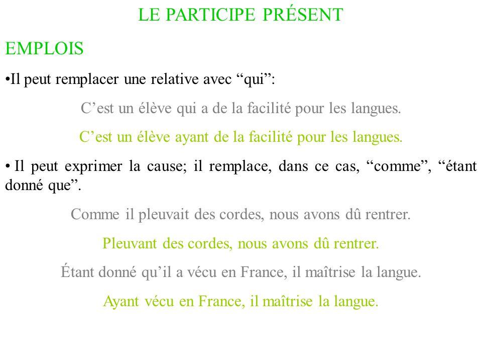 """LE PARTICIPE PRÉSENT EMPLOIS Il peut remplacer une relative avec """"qui"""": C'est un élève qui a de la facilité pour les langues. C'est un élève ayant de"""