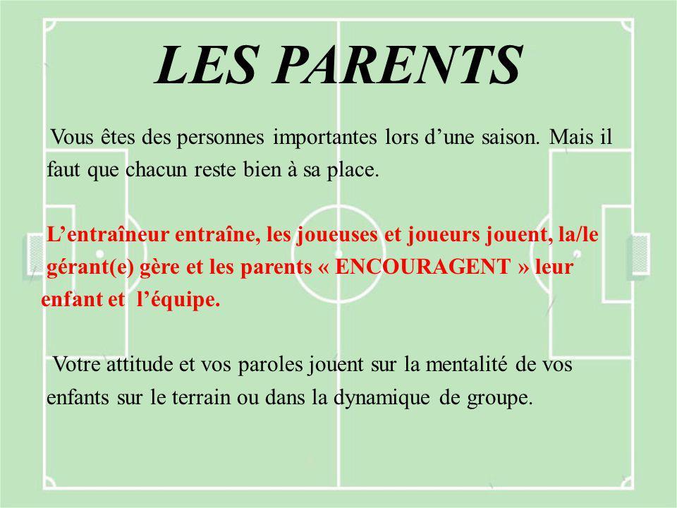LES PARENTS Vous êtes des personnes importantes lors d'une saison. Mais il faut que chacun reste bien à sa place. L'entraîneur entraîne, les joueuses