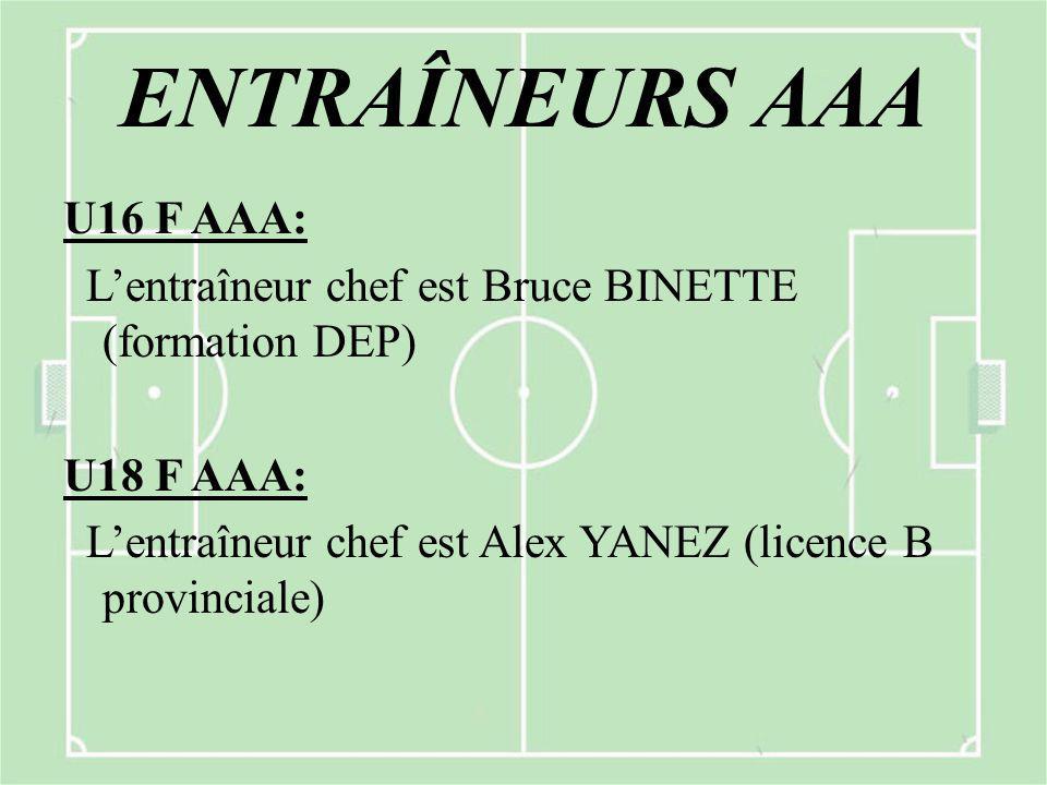 ENTRAÎNEURS AAA U16 F AAA: L'entraîneur chef est Bruce BINETTE (formation DEP) U18 F AAA: L'entraîneur chef est Alex YANEZ (licence B provinciale)