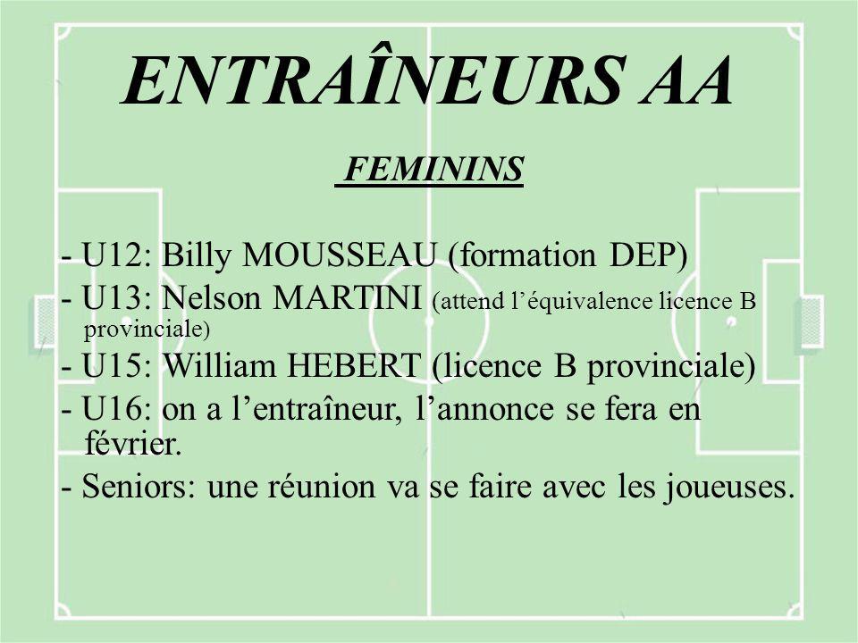 ENTRAÎNEURS AA FEMININS - U12: Billy MOUSSEAU (formation DEP) - U13: Nelson MARTINI (attend l'équivalence licence B provinciale ) - U15: William HEBERT (licence B provinciale) - U16: on a l'entraîneur, l'annonce se fera en février.