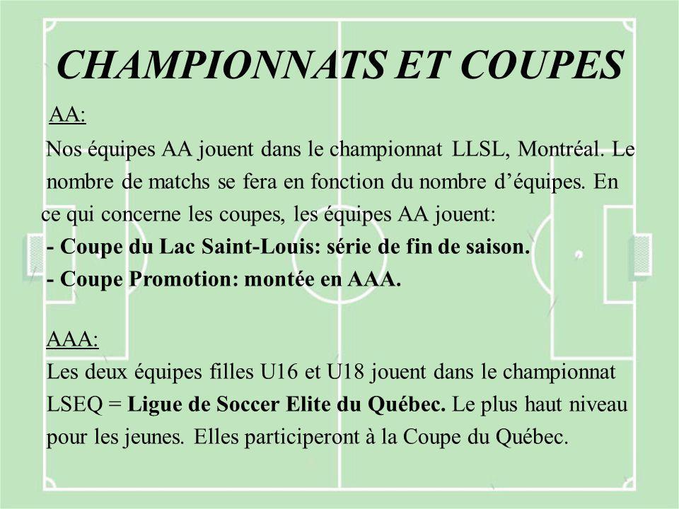 CHAMPIONNATS ET COUPES AA: Nos équipes AA jouent dans le championnat LLSL, Montréal. Le nombre de matchs se fera en fonction du nombre d'équipes. En c