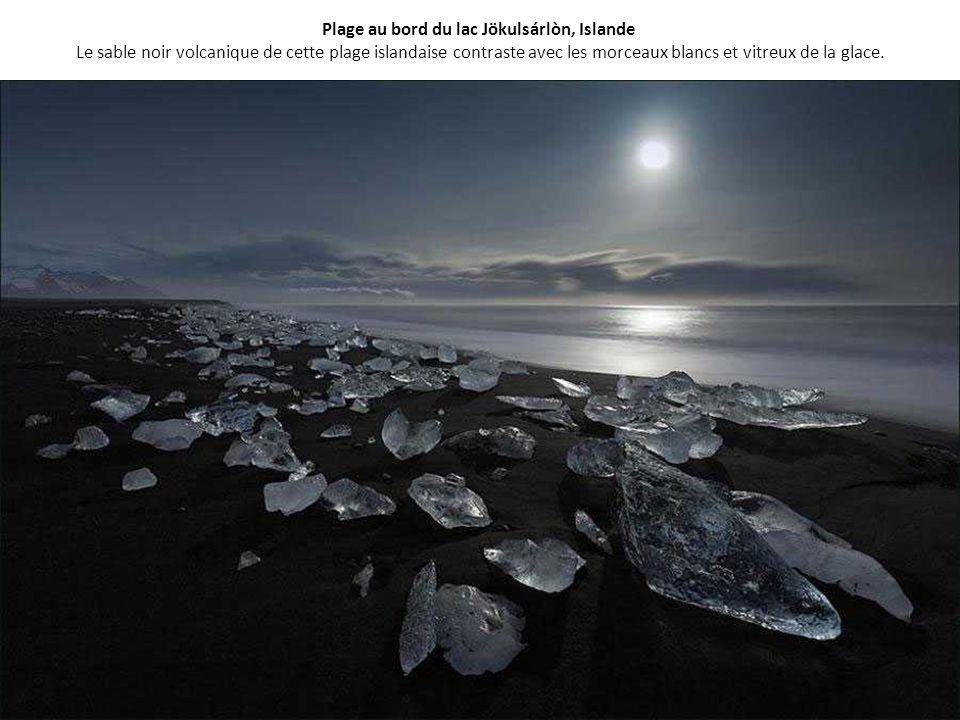 Plage au bord du lac Jökulsárlòn, Islande Le sable noir volcanique de cette plage islandaise contraste avec les morceaux blancs et vitreux de la glace