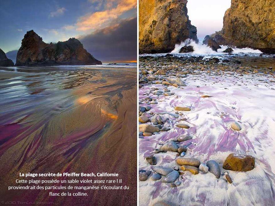 La plage secrète de Pfeiffer Beach, Californie Cette plage possède un sable violet assez rare .