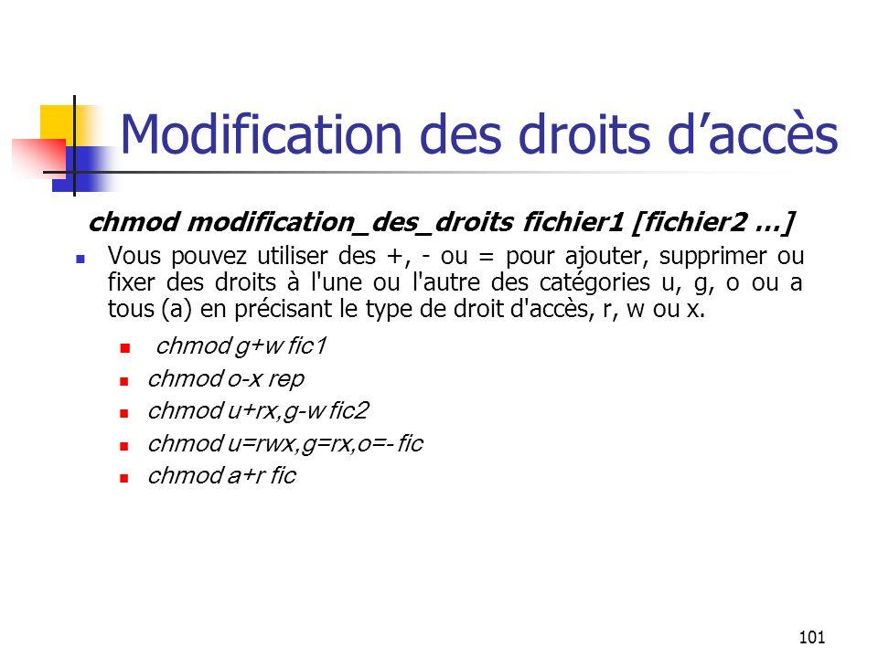 101 Modification des droits d'accès chmod modification_des_droits fichier1 [fichier2 …] Vous pouvez utiliser des +, - ou = pour ajouter, supprimer ou