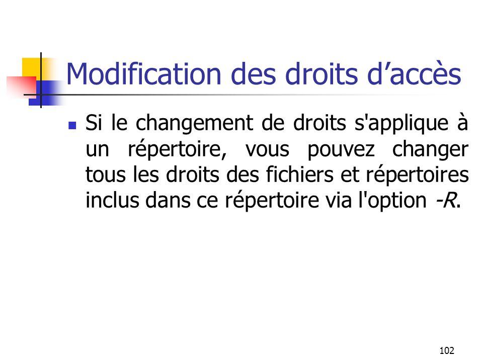 102 Modification des droits d'accès Si le changement de droits s'applique à un répertoire, vous pouvez changer tous les droits des fichiers et réperto