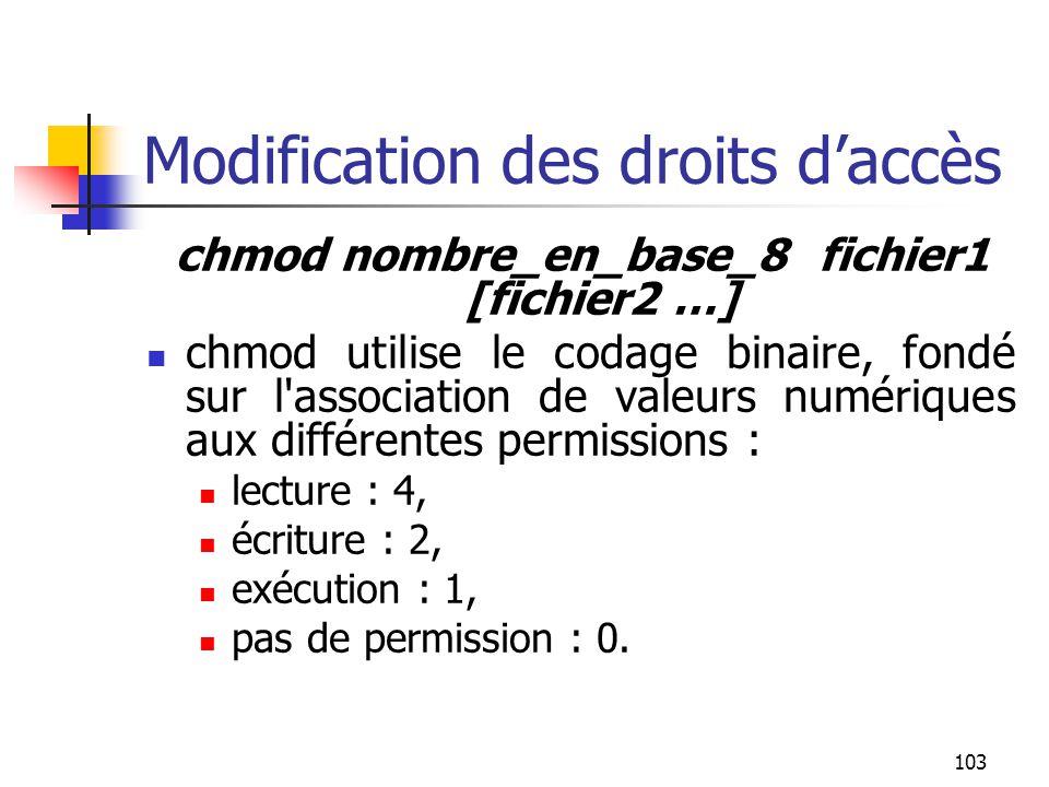 103 Modification des droits d'accès chmod nombre_en_base_8 fichier1 [fichier2 …] chmod utilise le codage binaire, fondé sur l'association de valeurs n