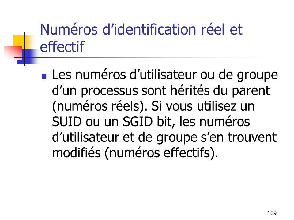 109 Numéros d'identification réel et effectif Les numéros d'utilisateur ou de groupe d'un processus sont hérités du parent (numéros réels). Si vous ut