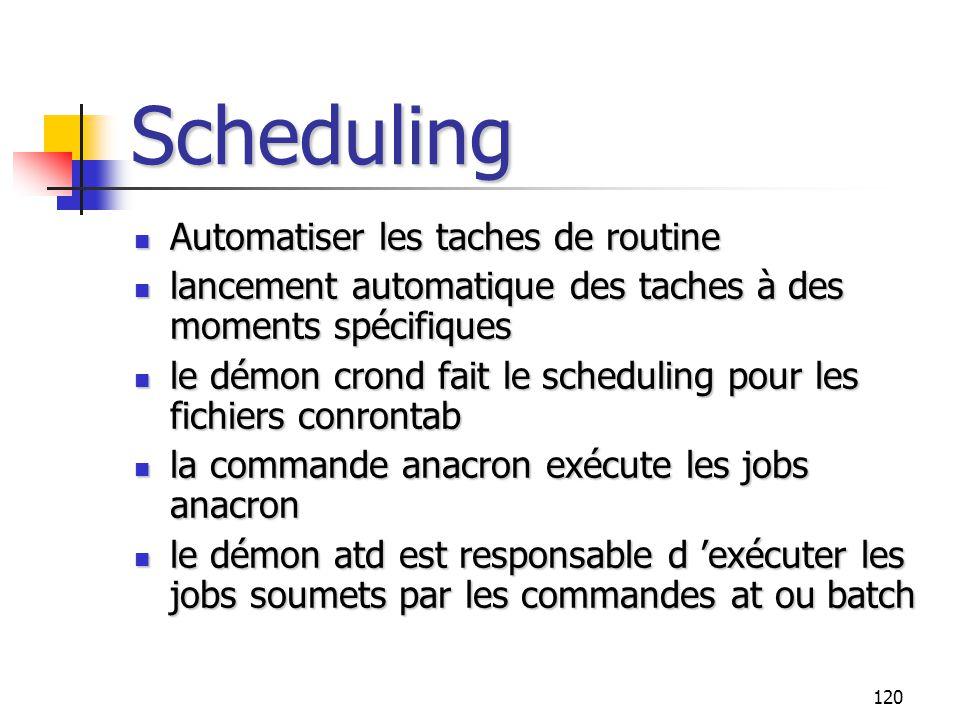 120 Scheduling Automatiser les taches de routine Automatiser les taches de routine lancement automatique des taches à des moments spécifiques lancemen