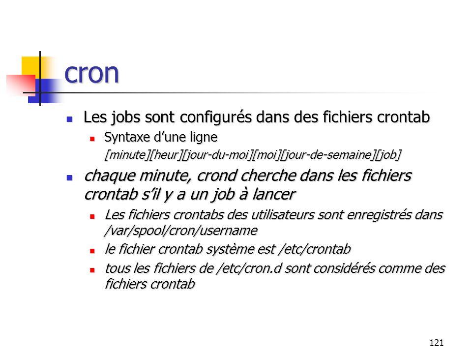 121 cron Les jobs sont configurés dans des fichiers crontab Les jobs sont configurés dans des fichiers crontab Syntaxe d'une ligne Syntaxe d'une ligne