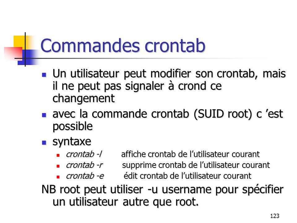 123 Commandes crontab Un utilisateur peut modifier son crontab, mais il ne peut pas signaler à crond ce changement Un utilisateur peut modifier son cr