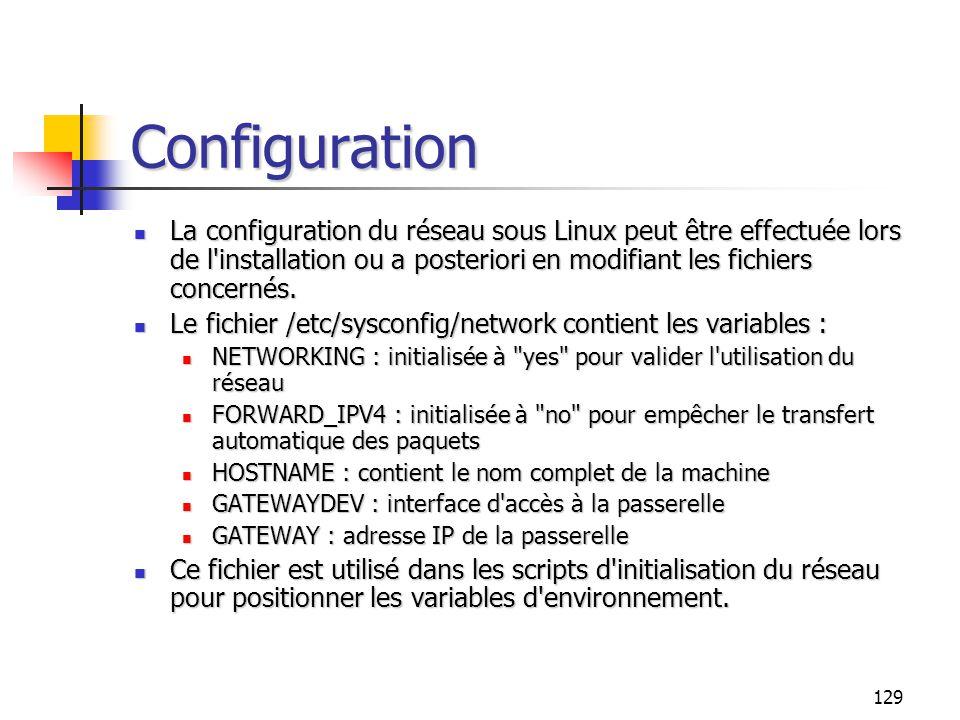 129 Configuration La configuration du réseau sous Linux peut être effectuée lors de l'installation ou a posteriori en modifiant les fichiers concernés