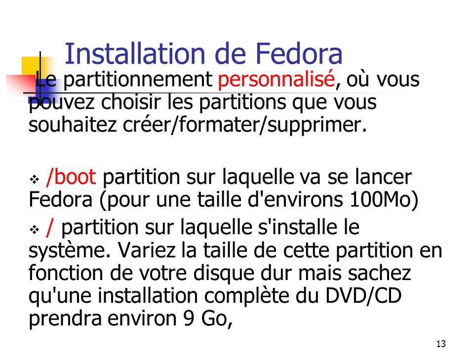 13 Installation de Fedora Le partitionnement personnalisé, où vous pouvez choisir les partitions que vous souhaitez créer/formater/supprimer.  /boot