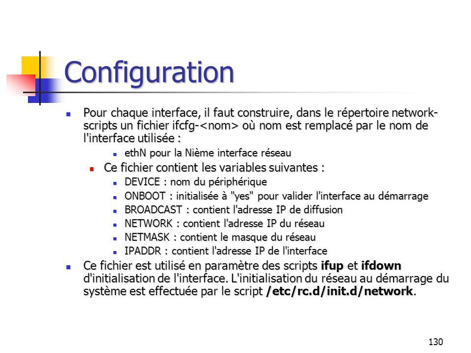 130 Configuration Pour chaque interface, il faut construire, dans le répertoire network- scripts un fichier ifcfg- où nom est remplacé par le nom de l