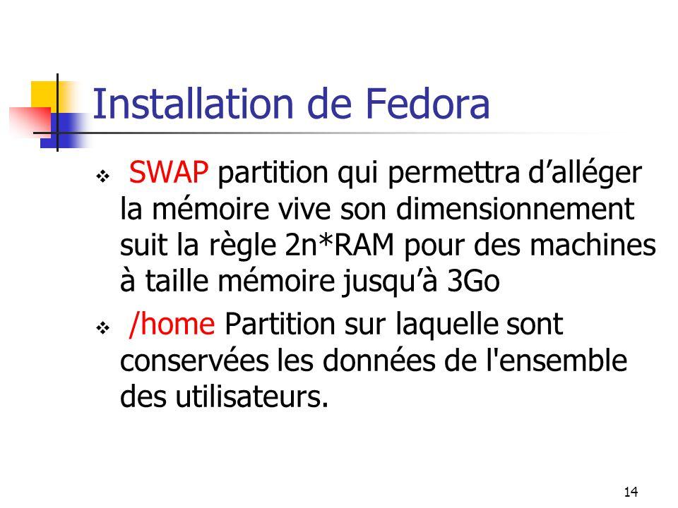 14 Installation de Fedora  SWAP partition qui permettra d'alléger la mémoire vive son dimensionnement suit la règle 2n*RAM pour des machines à taille