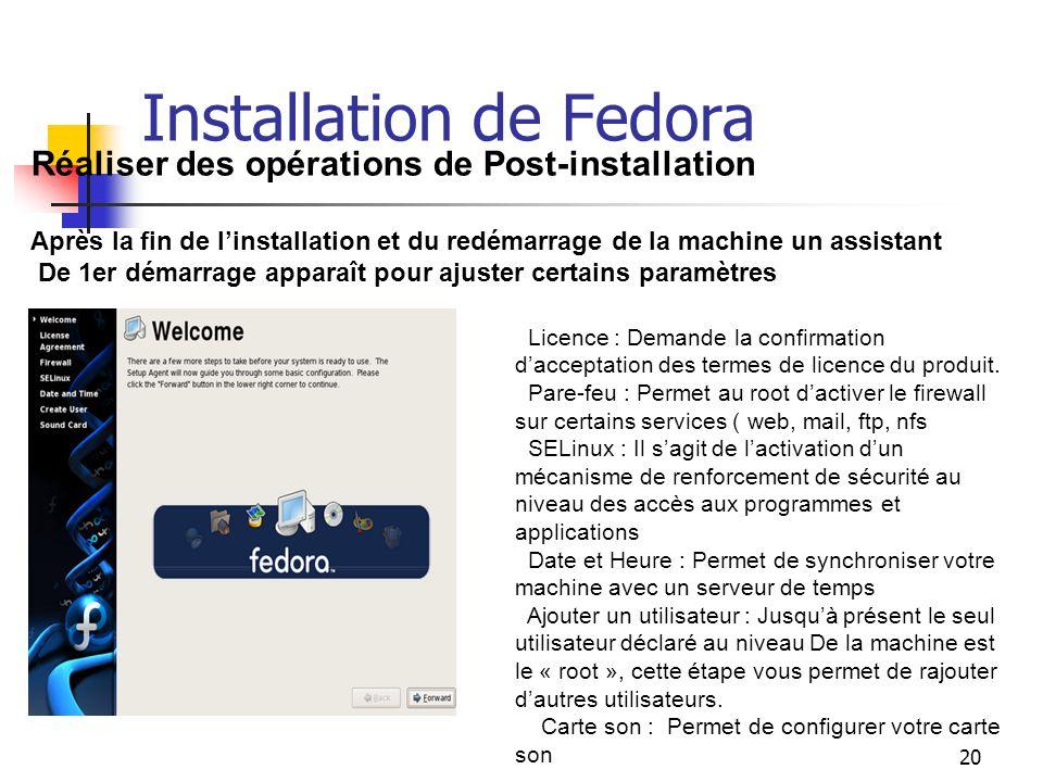 20 Installation de Fedora Réaliser des opérations de Post-installation Après la fin de l'installation et du redémarrage de la machine un assistant De
