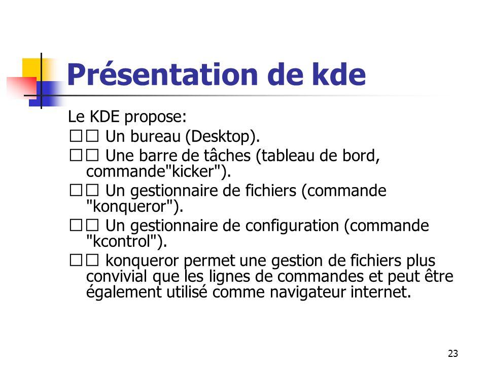 23 Présentation de kde Le KDE propose: Un bureau (Desktop). Une barre de tâches (tableau de bord, commande