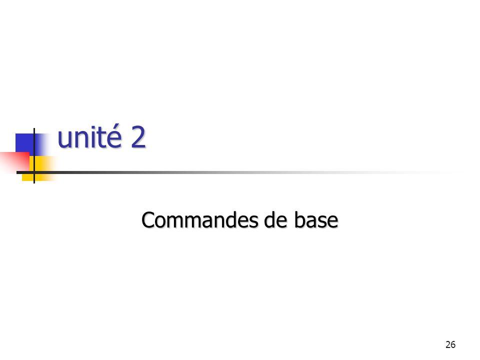 26 unité 2 Commandes de base