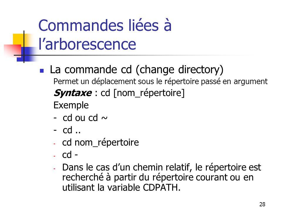 28 Commandes liées à l'arborescence La commande cd (change directory) Permet un déplacement sous le répertoire passé en argument Syntaxe : cd [nom_rép
