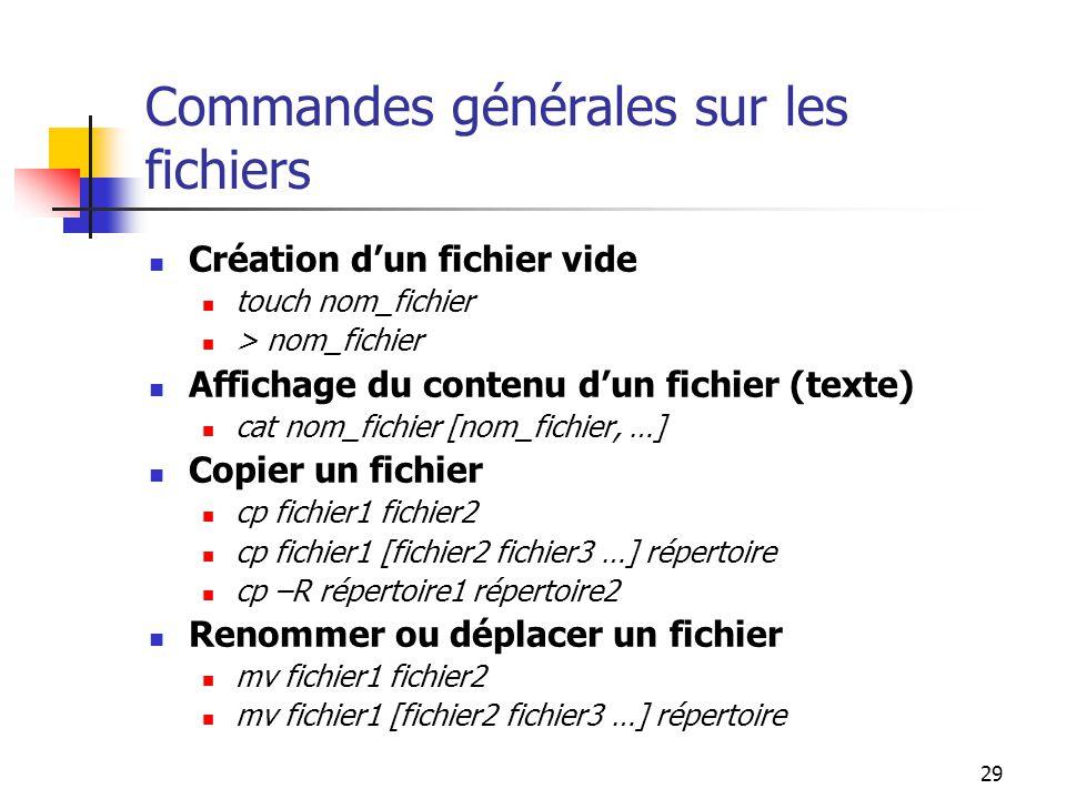 29 Commandes générales sur les fichiers Création d'un fichier vide touch nom_fichier > nom_fichier Affichage du contenu d'un fichier (texte) cat nom_f