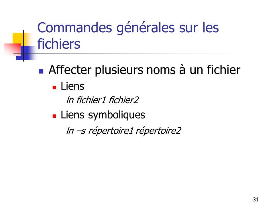31 Commandes générales sur les fichiers Affecter plusieurs noms à un fichier Liens ln fichier1 fichier2 Liens symboliques ln –s répertoire1 répertoire