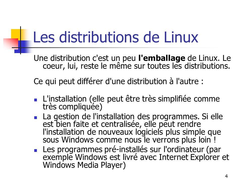 4 Les distributions de Linux Une distribution c'est un peu l'emballage de Linux. Le coeur, lui, reste le même sur toutes les distributions. Ce qui peu