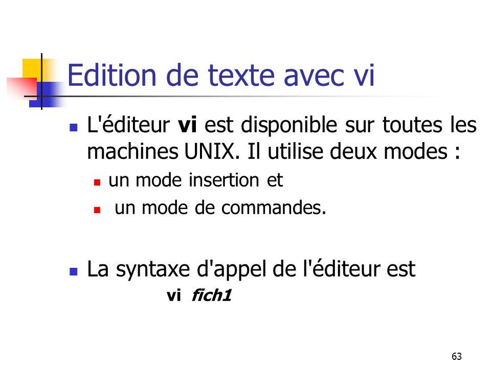 63 Edition de texte avec vi L'éditeur vi est disponible sur toutes les machines UNIX. Il utilise deux modes : un mode insertion et un mode de commande