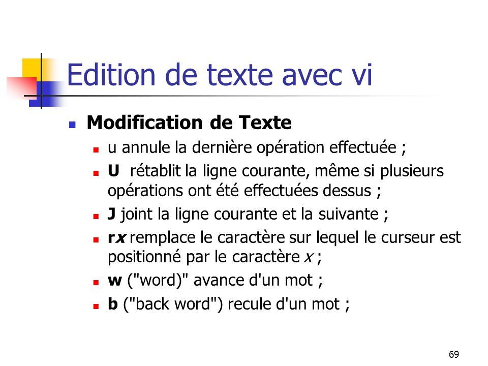 69 Edition de texte avec vi Modification de Texte u annule la dernière opération effectuée ; U rétablit la ligne courante, même si plusieurs opération