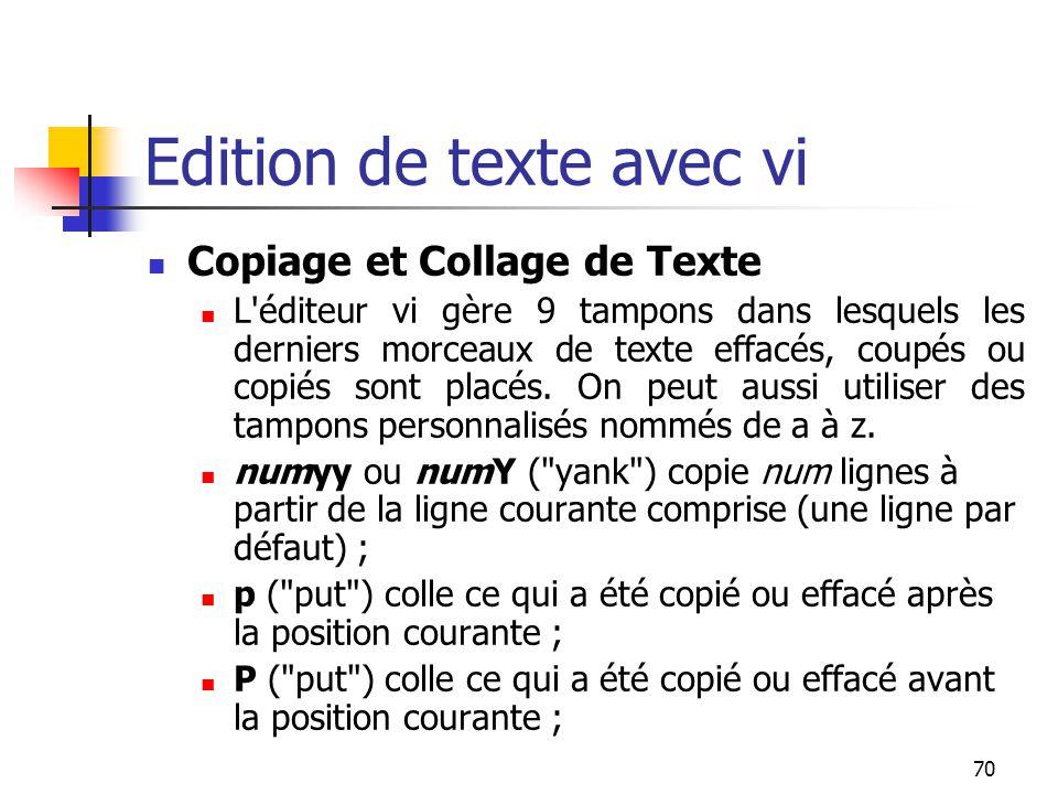 70 Edition de texte avec vi Copiage et Collage de Texte L'éditeur vi gère 9 tampons dans lesquels les derniers morceaux de texte effacés, coupés ou co