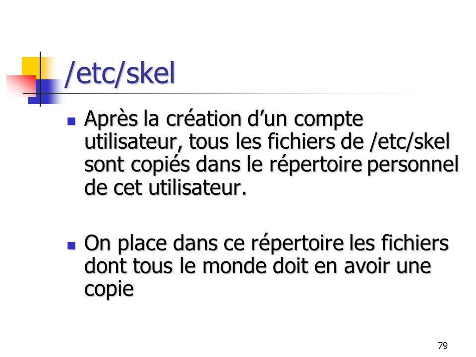 79 /etc/skel Après la création d'un compte utilisateur, tous les fichiers de /etc/skel sont copiés dans le répertoire personnel de cet utilisateur. Ap