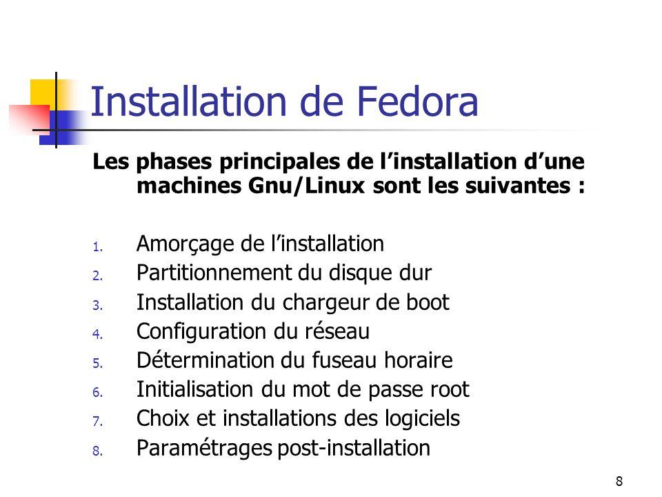 8 Installation de Fedora Les phases principales de l'installation d'une machines Gnu/Linux sont les suivantes : 1. Amorçage de l'installation 2. Parti