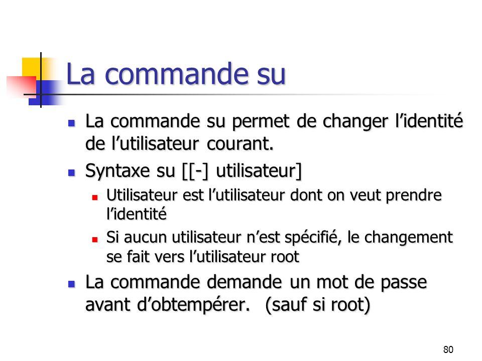 80 La commande su La commande su permet de changer l'identité de l'utilisateur courant. La commande su permet de changer l'identité de l'utilisateur c