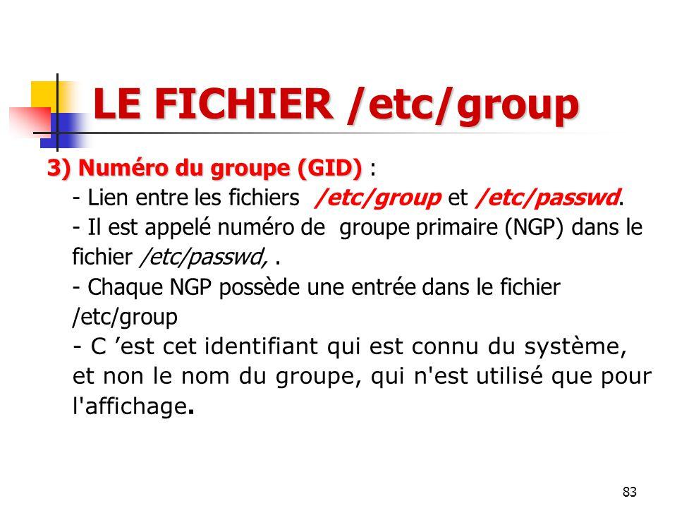 83 LE FICHIER /etc/group 3) Numéro du groupe (GID) 3) Numéro du groupe (GID) : - Lien entre les fichiers /etc/group et /etc/passwd. - Il est appelé nu