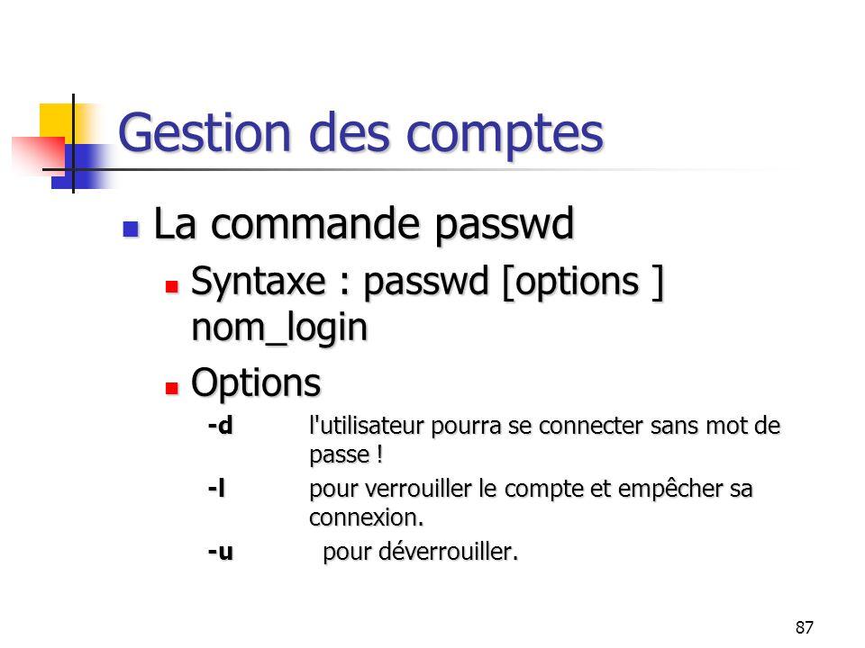 87 Gestion des comptes La commande passwd La commande passwd Syntaxe : passwd [options ] nom_login Syntaxe : passwd [options ] nom_login Options Optio