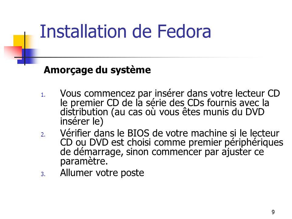 9 Installation de Fedora Amorçage du système 1. Vous commencez par insérer dans votre lecteur CD le premier CD de la série des CDs fournis avec la dis