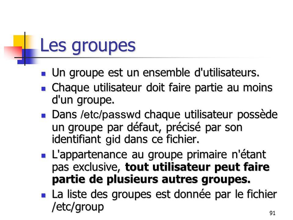 91 Les groupes Un groupe est un ensemble d'utilisateurs. Un groupe est un ensemble d'utilisateurs. Chaque utilisateur doit faire partie au moins d'un