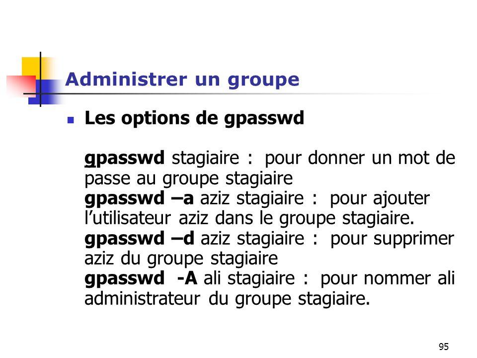 95 Administrer un groupe Les options de gpasswd gpasswd stagiaire : pour donner un mot de passe au groupe stagiaire gpasswd –a aziz stagiaire : pour a