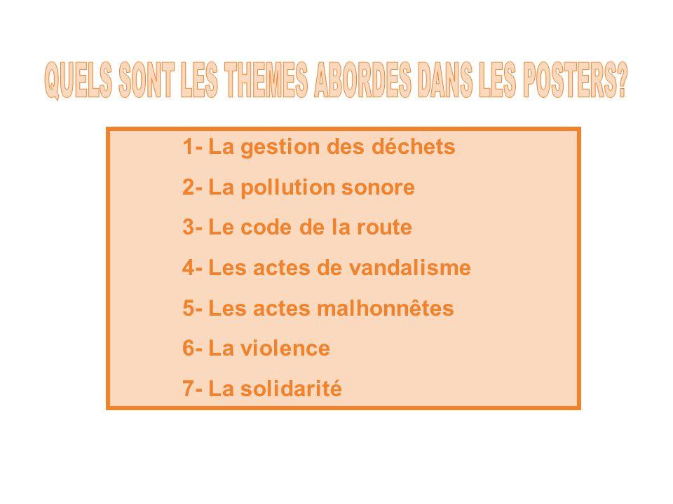 1- La gestion des déchets 2- La pollution sonore 3- Le code de la route 4- Les actes de vandalisme 5- Les actes malhonnêtes 6- La violence 7- La solidarité
